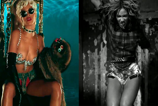 "Less than a year after Rihanna rocked her now signature denim thong in ""Pour It Up,"" Bey borrowed the unique look for her ""Flawless"" video."