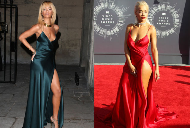 Rita made our 2014 VMAs best dressed list in her red Donna Karan dress. However, Rih rocked an almost identical style during London Fashion Week in 2012.